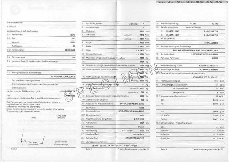 Exemple certificat de conformité Bmw 1500